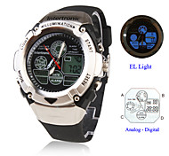 Unisex Analog-Digital Multi-Functional Silver Case Black Silicone Band Sporty Wrist Watch