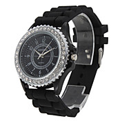 Fashionable Quartz Wrist Watch with Black Silicone Band Cool Watch Unique Watch