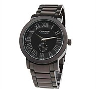 Men's Quartz Analog Black Dial Black Steel Band Wrist Watch