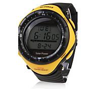 Hombre Reloj Deportivo Reloj de Moda Reloj de Pulsera Energía solar LED Resistente al Agua Energía solar Caucho Banda Casual CoolNegro