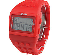 Unisex Block Bricks Design Band Digital LCD Wrist Watch (Red)