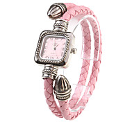 Quarz-Armbanduhr mit PU-Leder + Seil Armband - pink