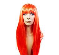 capless longue synthétique de haute qualité beau rouge perruque fête costumée
