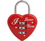 De 3 dígitos en forma de corazón candado de equipaje (rojo)