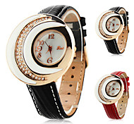 Frauen-Leder aanlog Quarz-Armbanduhr mit Mond-förmige Gehäuse (verschiedene Farben)