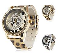 leopardo das mulheres grão pu analógico relógio de pulso de quartzo (cores sortidas)
