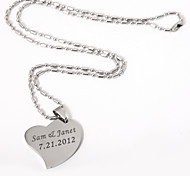 Personlized Heart Pendant Necklace In Silver Alloy