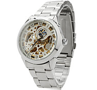 Unisex Auto-Mechanical Hollow Dial Silver Steel Band Analog Wrist Watch (Assorted Colors)