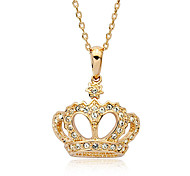 Lureme®Diamond Inlaid Crown Pendant Necklace
