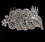 lega con strass e perla pettine foglia di ritaglio da sposa