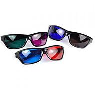 Plastic Frame Resin Lens Anaglyphic Blue + Red 3D Movie Special Glasses(Random Color)