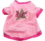 Liva Star Style Cotton T-shirt for Dogs (Pink, Multiple Sizes Available)