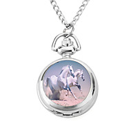 Women's Alloy Analog Quartz Necklace Watches with Horse (Silver)