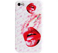 Lip Style Protective Case for iPhone 4 and 4S (White and Red)