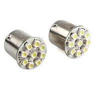 1156 9-LED 1206 SMD White Light Car LED Lamp (2pcs, DC 12V)