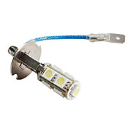H3 9*5050 SMD White LED Car Signal Lights (2-Pack, DC 12V)
