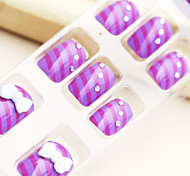 Japanese Lovely Purple Bowknot Nail Art Tips With Glue (24pcs)