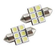 31mm 6*5050 SMD White LED Car Signal Lights (2-Pack, DC 12V)
