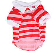 Striped Polo Shirt for Dogs (XS-L, Pink)