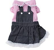 принцесса стиля джинсовой одежды для собак (XS-XL, розовый)