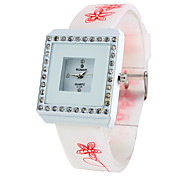 Women's Square Diamond Style Silicone Analog Quartz Wrist Watch (Random Colors)