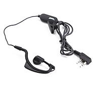 Professional Hands-Free Clip-On Microphone Earphones for Walkie Talkie (Black)