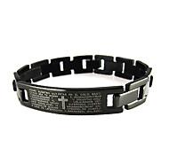BaoGuang®Men's Bible Scripture Cross Titanium Steel Bracelet Bangle