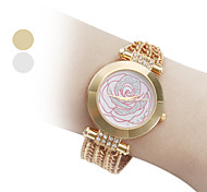 Women's Rose Flower Style Alloy Analog Quartz Bracelet Wrist Watch (Gold)