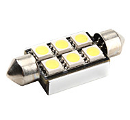 CANBUS Festoon 39mm 1W 6x5050 SMD White LED Car Signal Light
