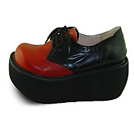 Wine Red and Black 9cm Wedge Punk Lolita Shoes with Shoelace
