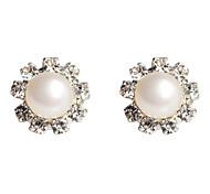 Flower Shaped Pearl Earring with Rhinestone