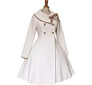 Long Sleeve White Velvet Pink Trim School Lolita Coat