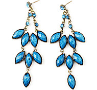 Three-Tier Floral Design Retro Earrings for Women (Blue)