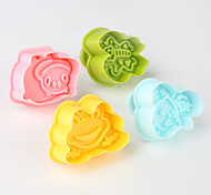 Fondant Cake DIY Decorating 3D Plunger Cutter Tools Frog Bee Butterfly Beetle Theme (Random Color, 4-Pack)