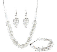collar de cristal de traje claro antiguos pendientes de la pulsera de las mujeres (blanco)