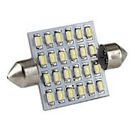 41mm 24x1206 SMD lumière blanche feston mené l'ampoule pour la lecture voiture / éclairage de la plaque trunk / licence (DC 12V)
