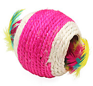 Cat Toy Pet Toys Ball Feather Toy Woven Textile