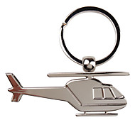 Metal Silver Helicopter Keychain