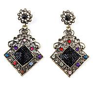 Rhombus Carved Style Dangle Retro Earrings for Women (Black)