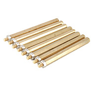 Brass Threaded Stand-Off Hex Screw Pillars with Nuts (M3 x 50mm + 6 / 20-Piece)