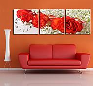 floral moderno reloj de pared de lona del estilo de 3pcs