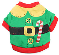 Santa Claus Style Cotton T-shirt for Dogs (Green,XS-L)