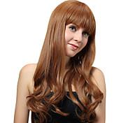 Sin tapa larga marrón rizado pelucas sintéticas