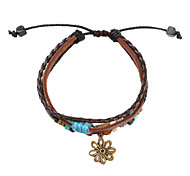 Z&X®  Fabric and Leather Bracelet Multilayer Vintage Bracelet with Flower