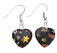Heart Shape Flower Inside Colored Glaze Earrings