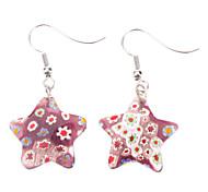 Pentagram Flower Pattern Coloured Glaze Earrings