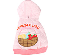 Dog Hoodie Pink Winter Fruit
