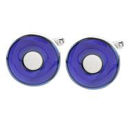 z&x® agate rond sphère bleue boutons de manchette en forme de coeur blanc