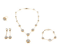 Z&X® women's Gold Plated Ball Diamond Jewelry Set(Necklace Earring Ring and Bracelet)