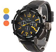Men's Racing Style Hard Case Black Silicone Band Quartz Wrist Watch (Assorted Colors)